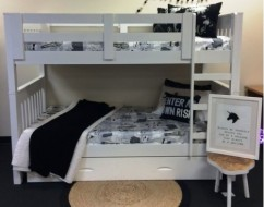 kids white bunk bed – bunk beds adelaide – out of the cot – 1