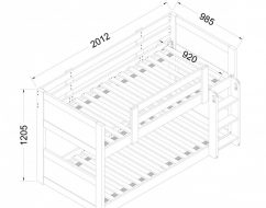 Town & Country Low Bunk Bed Drawing-700×700