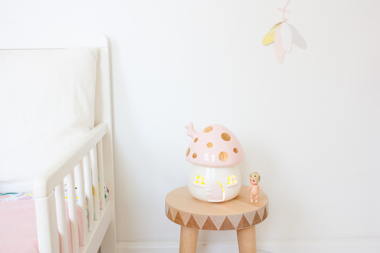 Little Belle Pink And Gold Toadstool Nightlight Out Of