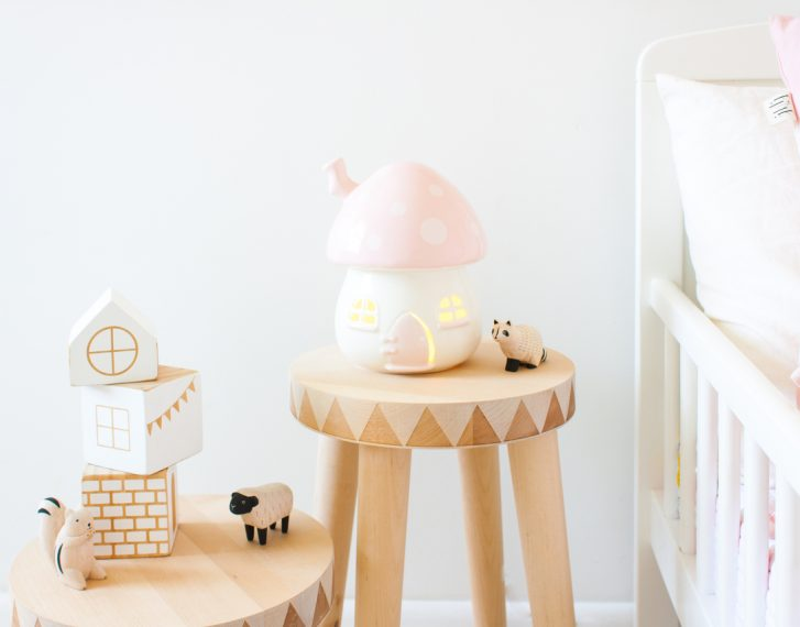 Little Belle Pink And White Toadstool Nightlight Out