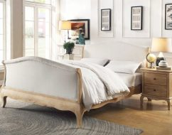 ONTARIO Solid Oak QUEEN Bed In Lime Wire Brushed Weathered Finish_1